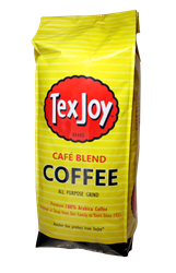 TexJoy Café Blend Coffee TexJoy, coffee, cafe, café, roast, bold, rich, aroma, arabica, pure, founders, choice, mild, robust
